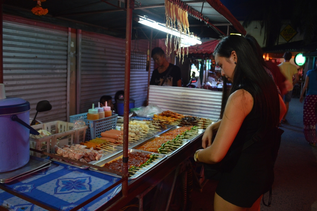 Assortment of skewers at a street food vendor in Chaweng, Koh Samui