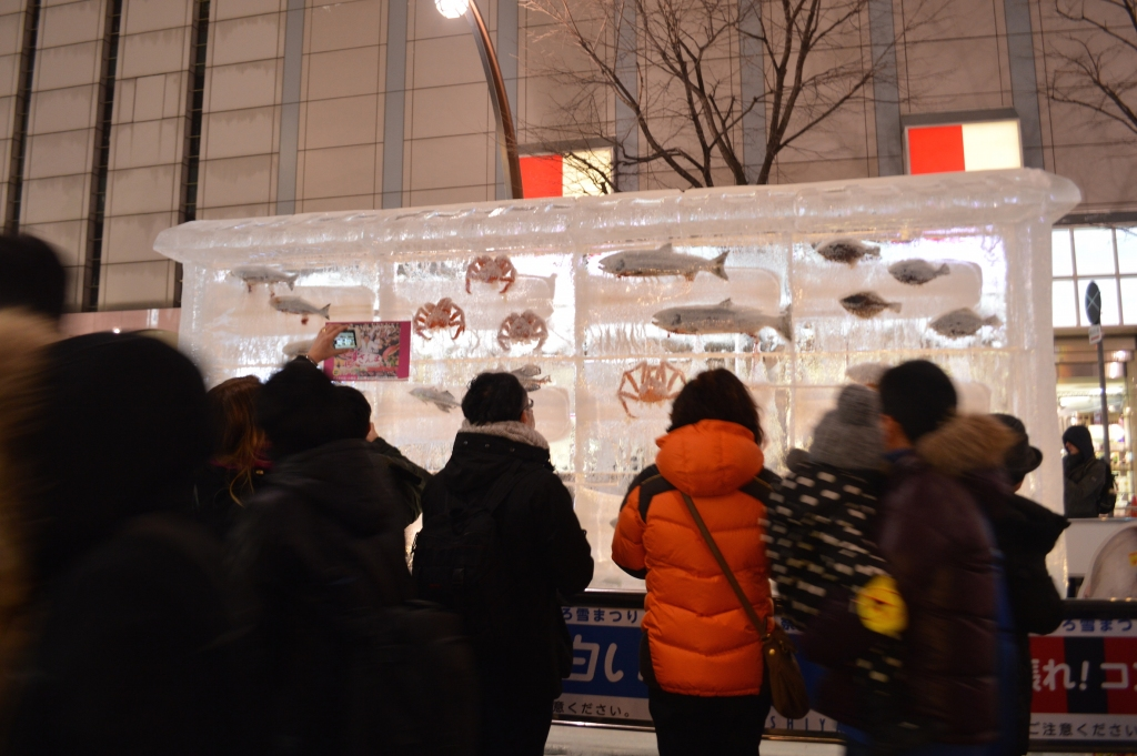 Tourists gawking at the spectacular ice sculptures- I was one of them