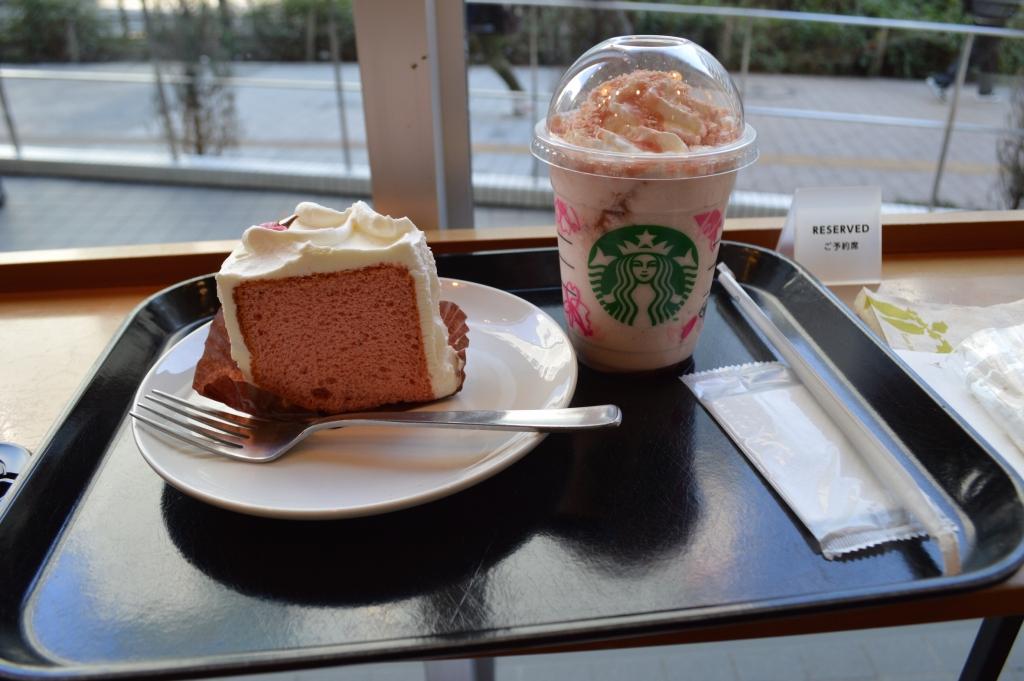 Sakura run at Starbucks- Sakura Frappucino and Sakura Chiffon Cake