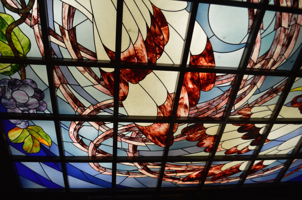 Stained glass ceilings at the cafe