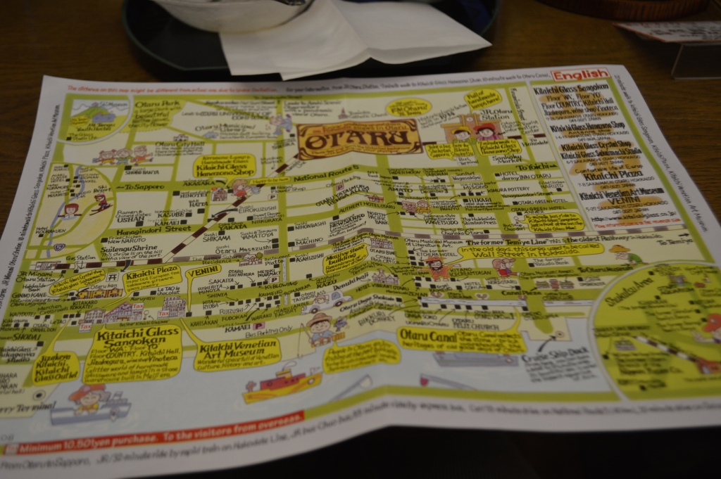 Map of Otaru- they make everything cute in Japan