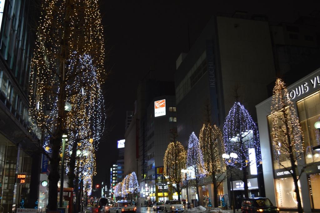 Lit up streets of Odori, Sapporo