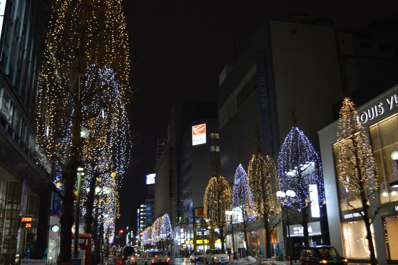 Lit up streets of Odori, Sapporo