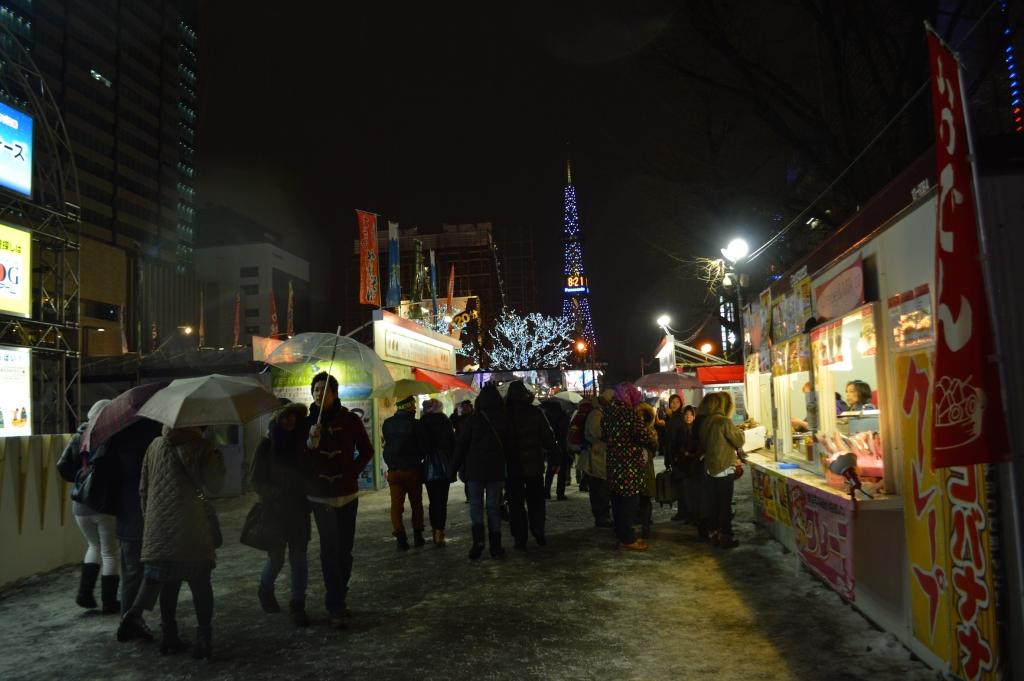 Food stalls in Odori Park