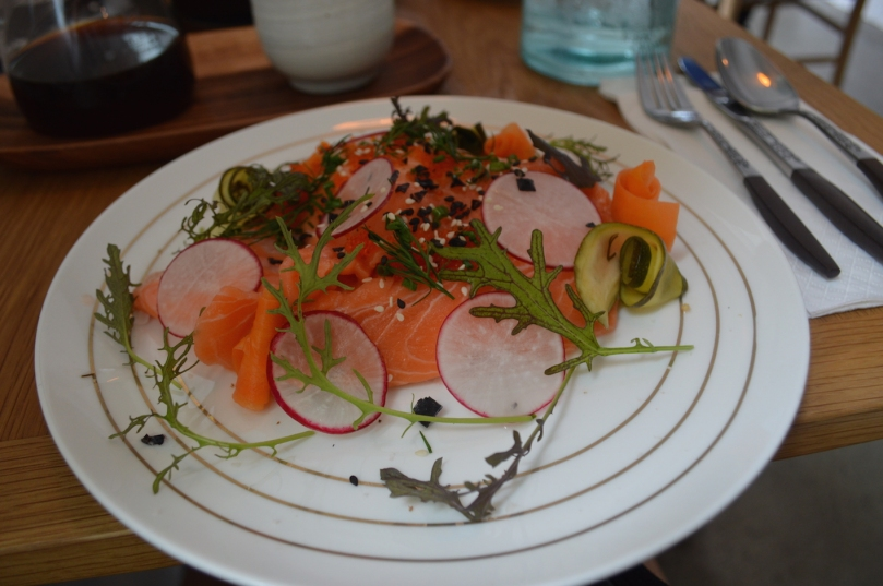 Smorrebrod ($19) with smoked salmon, tobiko, radish and creme fraiche on dark rye bread