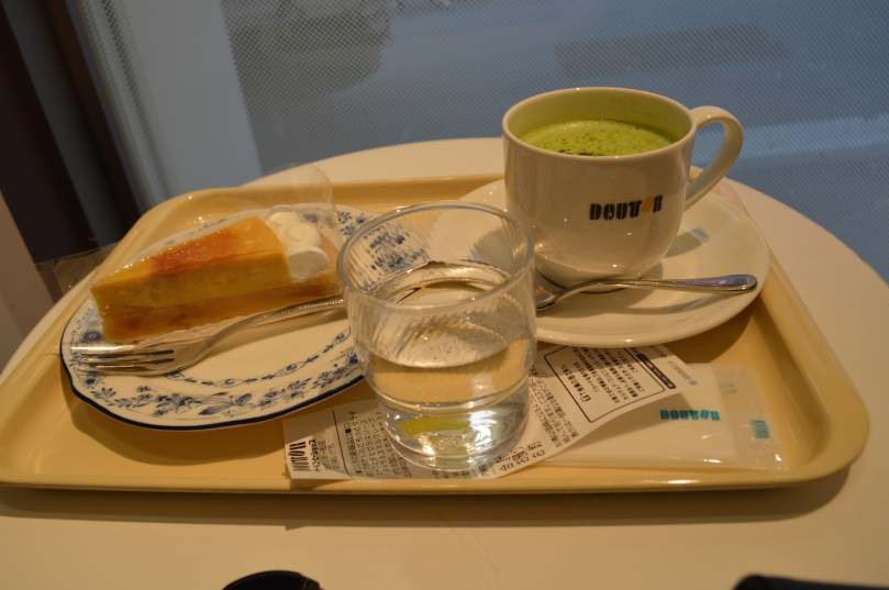 Kabocha cake and a matcha latte