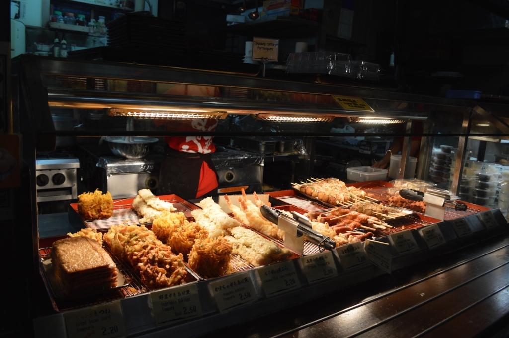 Tempura skewers, takoyaki also available ranging from $1- $2
