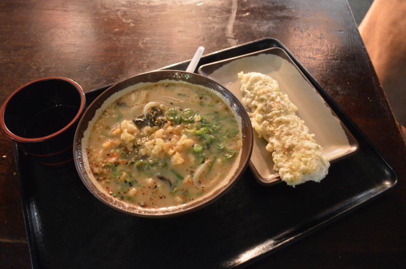 Regular size Tonkotsu Udon ($5.90) with tempura fish cake ($1.90)