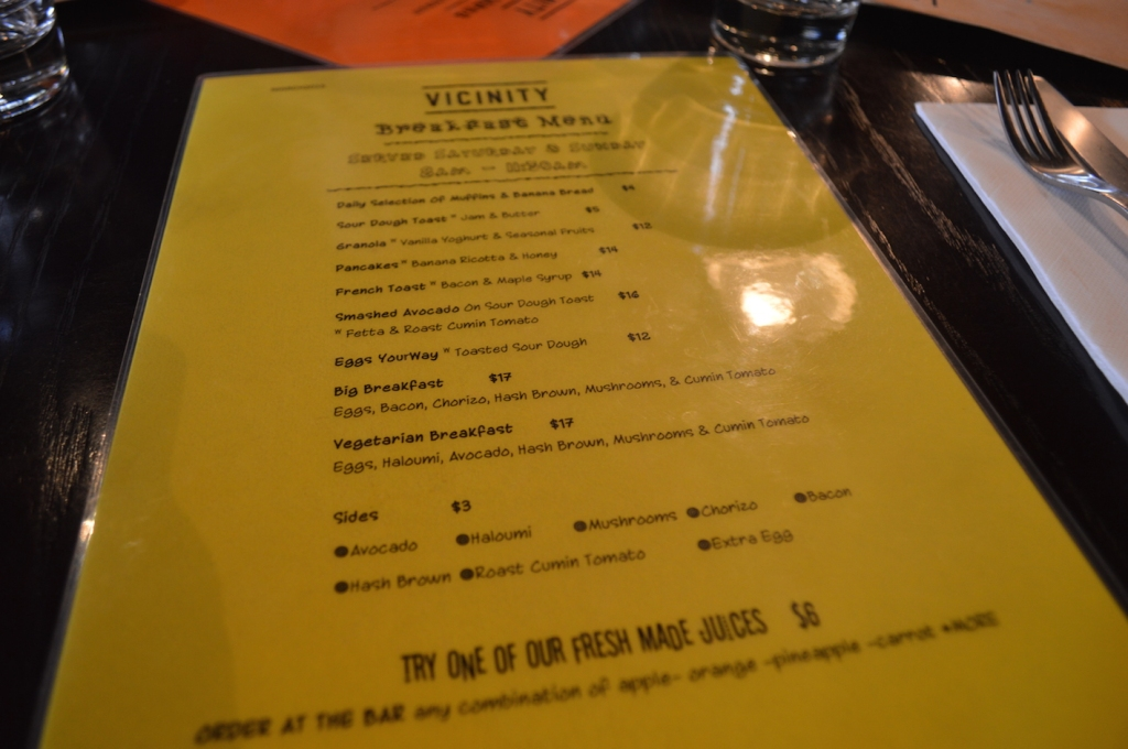 Vicinity Dining's breakfast menu