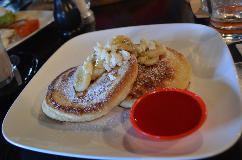 Pancakes with banana, ricotta and honey ($14)