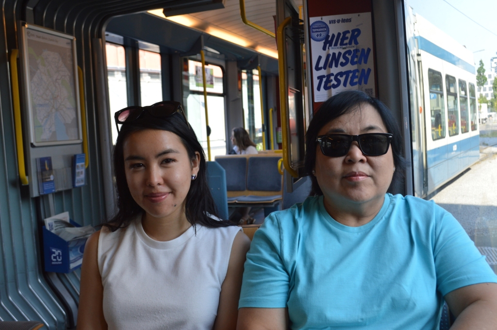 Mum and I catching the tram in Zurich