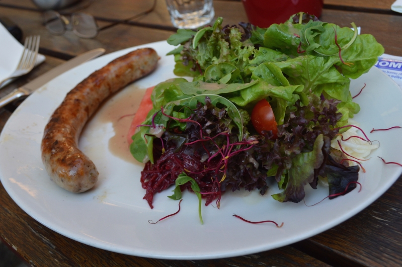 Mum's sausage and salad