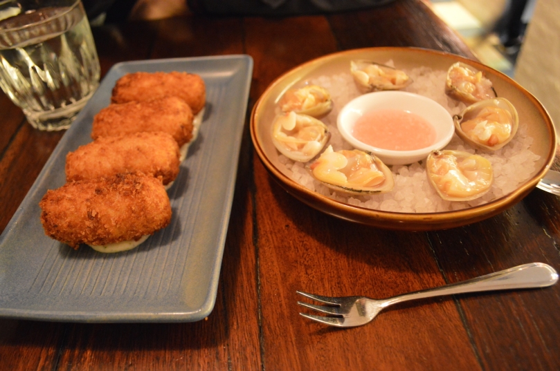 NZ Blue Eye Croquettes and NZ Cloudy Bay Clams
