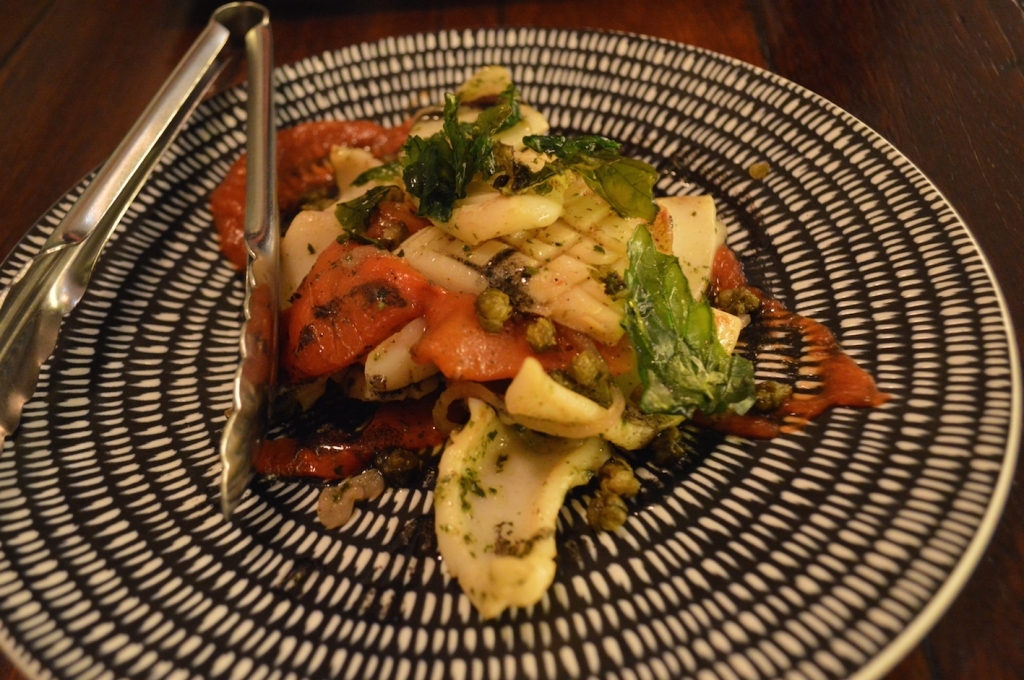 Cuttlefish, Peperonata ($16) with Squid Ink Dressing
