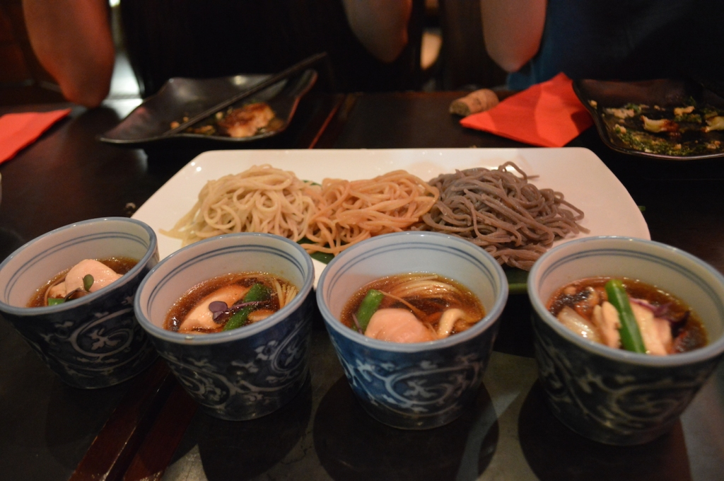 Special Handmade Soba of the day ($26) L-R: plain buckwheat, earl grey, and black sesame