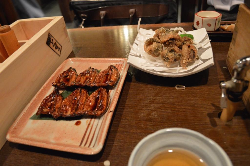 Loach and tempura mushrooms