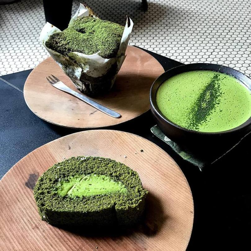 Matcha muffin, matcha swiss log, and matcha latte
