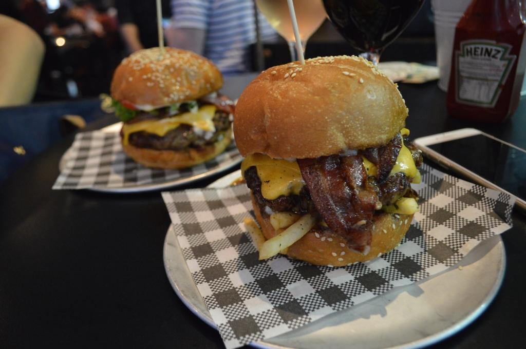 Cheeseburger ($12) and Blame Canada ($15)